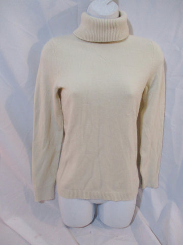 Womens VINEYARD VINES Cashmere Turtleneck Sweater Pullover M ECRU BEIGE