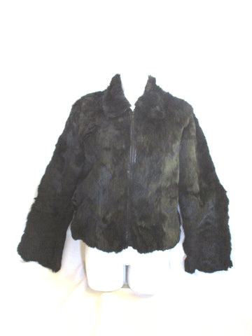 Womens LEATHER Genuine RABBIT Fur BOLERO Coat Jacket BLACK M ESTATE FIND