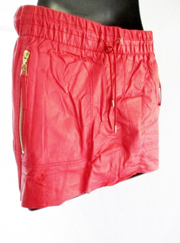 NEW NWT LOUIS VUITTON Leather Mini Skirt 38 / 6 RED WOMENS Zip Pockets Spring Fashion