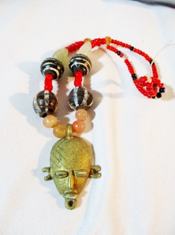 Ethnic African BRONZE HEAD Stone Bead Tribal Necklace AFRO FASHION Chunky Handmade