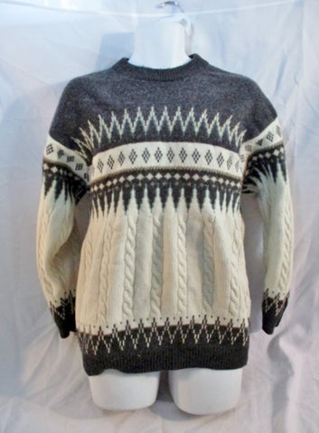 Mens STEFANEL ITALY Winter Holiday Christmas Knit Ski Nordic Sweater L GRAY Wool