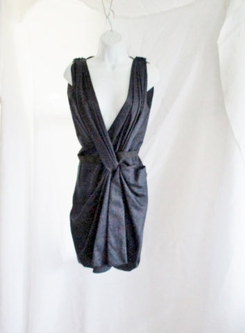 New LANVIN Ete 2010 Ruched Sleeveless Dress 38 6 NAVY BLUE