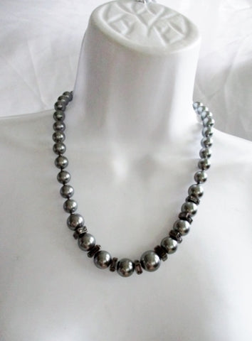 ANNE KLEIN GRAY PEARL Necklace Choker Rhinestone Cube Pewter