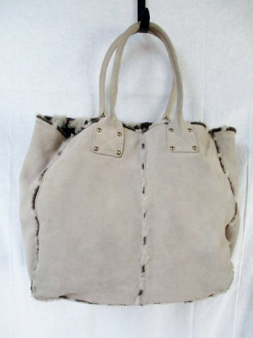 GAP Cow Split Suede Leather Fur Reversible TOTE Satchel Carryall Shopper BROWN TAN