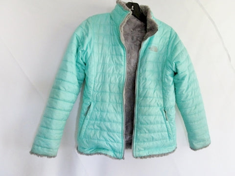 Youth Girls THE NORTH FACE Reversible JACKET Puffer Coat L 14/16  GRAY MINT BLUE