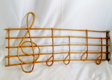 Vintage Handmade WICKER RATTAN Cleff Musical Note Scale Sculpture Wall Art Display