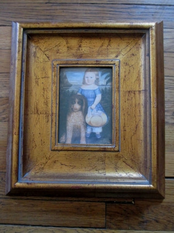 "14 x 16"" Gilt Frame OLD-FASHIONED GIRL DOG PORTRAIT Picture Print ART Nouveau"