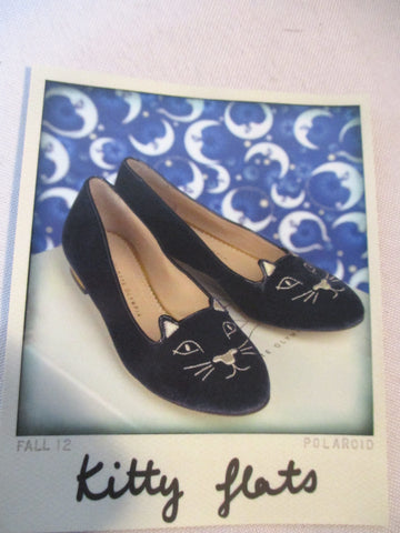 NEW CHARLOTTE OLYMPIA KITTY FLAT VELVET Embroidered Shoe 36 NAVY GOLD CAT
