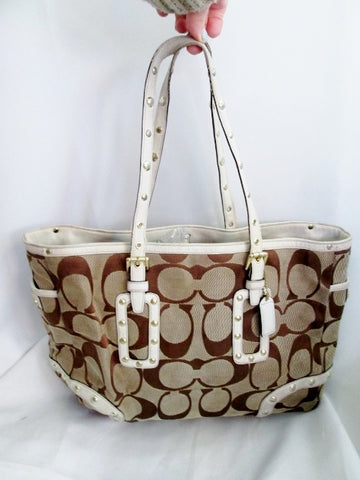 COACH 1488 Tatum Studded Tote Leather Jacquard Canvas Tote Purse Bag KHAKI WHITE