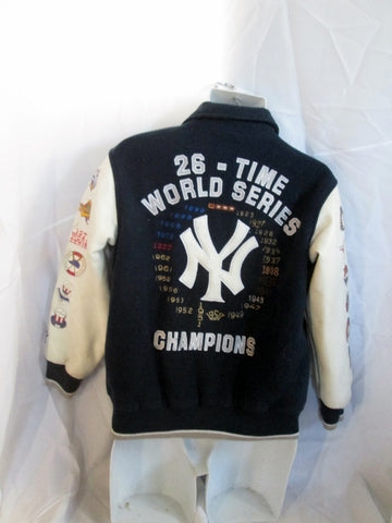 Boys 26-Time YANKEES WORLD SERIES BASEBALL Bomber Varsity Jacket Coat 12/14 M