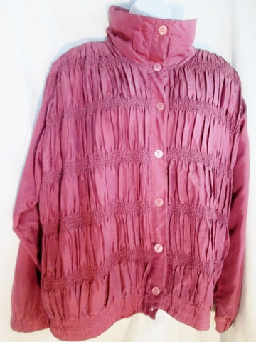 Womens LAVON Ruched Pleated Silk Button Up Jacket Coat L RED MAUVE