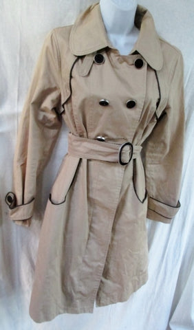 Womens SOIA & KYO Mushroom TRENCH COAT Jacket G L Belt MUSHROOM BEIGE BROWN