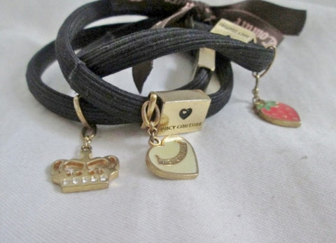 Vintage JUICY COUTURE Set 3 Charm BAND Bracelet CROWN STRAWBERRY Bangle Body Jewelry Adornment
