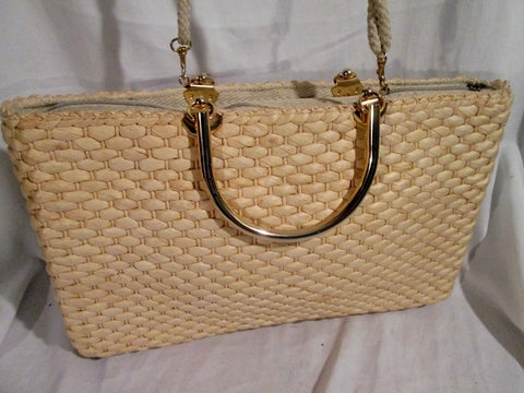 TRIMINGHAM'S BERMUDA ITALY Woven Basket Rattan Tote Shoulder Bag Satchel TAN Vegan