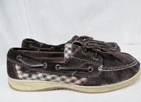 Womens SPERRY TOP SIDER 2 Eye Leather Suede Boat Shoe Moc 9 BROWN Preppie