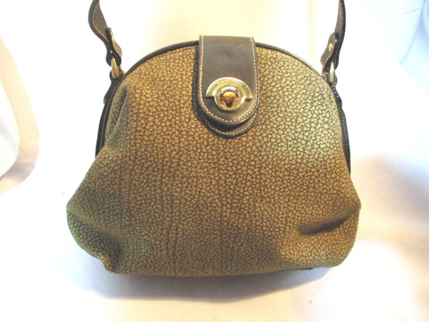 BETTINA ITALY Suede Saddle Bag Leather Shoulder Bag Crossbody BROWN KHAKI