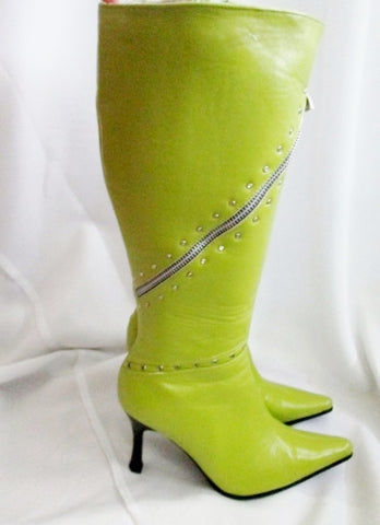 Womens FO'S SHOES ZIP Goth Stiletto High Heel Boots 6 Pointy Toe GREEN Fetish