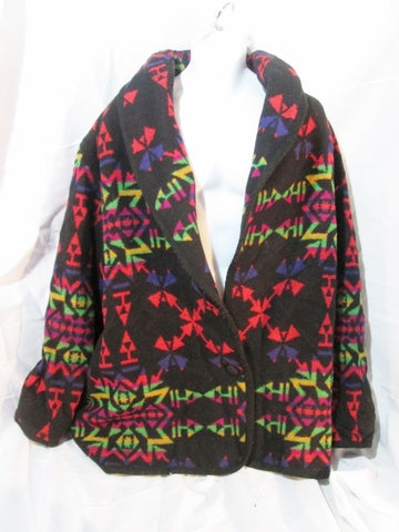 Womens BRYANT PARK Maya Aztec Blanket Coat Jacket 22 Wool BLACK Southwest