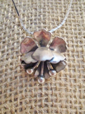"16"" Silver FLOWER FLORAL Pendant NECKLACE FLOWER Choker"
