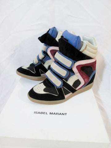 NEW ISABEL MARANT OVER BASKET WILLOW Sneaker 38 7.5 BLUE Leather TRAINER Shoe Sport Womens