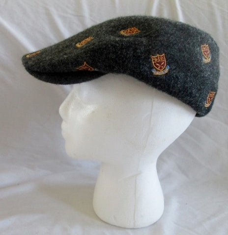 Mens ENGLISH TWEED for J. CREW driving cap hat wool Coat of Arms CHARCOAL GRAY