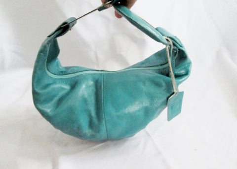 ADALGIZA LOPEZ CRESCENT Leather Banana Hobo Bag Shoulder Satchel BLUE SEAFOAM