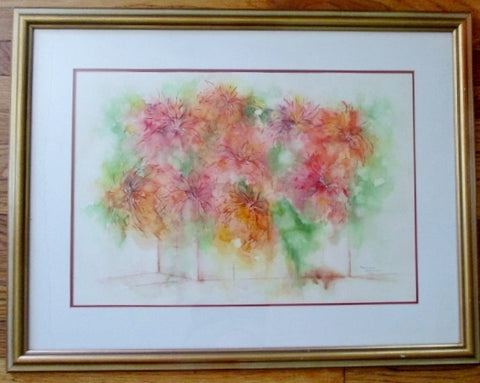 Signed Vintage Mariam Attarian Armenian Flower Watercolor Painting ART Watercolor FRAME
