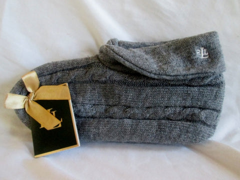 NEW NWT Womens POLO RALPH LAUREN Knit Slippers Socks Booties GRAY