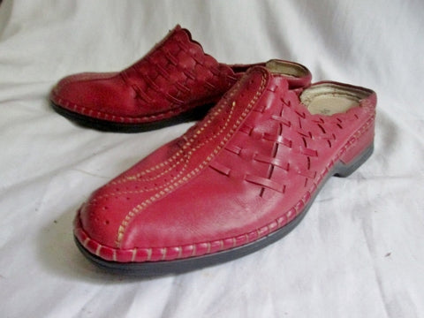 Womens SPRING STEP HANDMADE Leather Clog Shoe Slip-On Loafer Mule RED 40 / 8.5 Woven