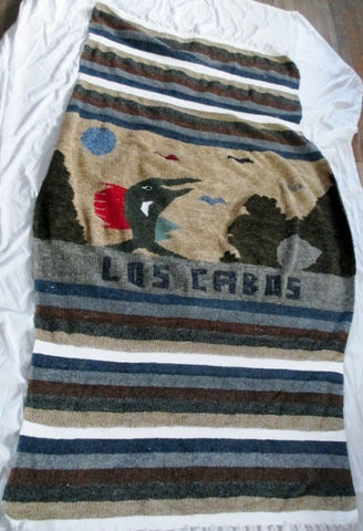 NEW LOS CABOS Rug Blanket Wall Hanging Mexican Ethnic Fringe DOLPHIN 80X50""