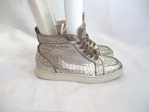 CHRISTIAN LOUBOUTIN Python Leather Hi-Top Sneaker TRAINER Shoe 36 GOLD Sport