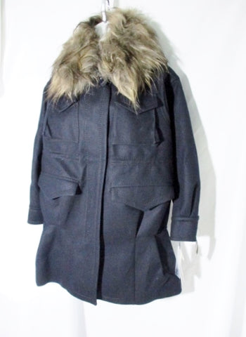 NWT NEW SACAI WOOL GOAT FUR jacket coat pockets Sz 1 BLACK