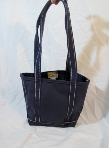 L.L. BEAN BOAT & TOTE USA Canvas Shoulder Beach Bag Carryall BLUE NAVY