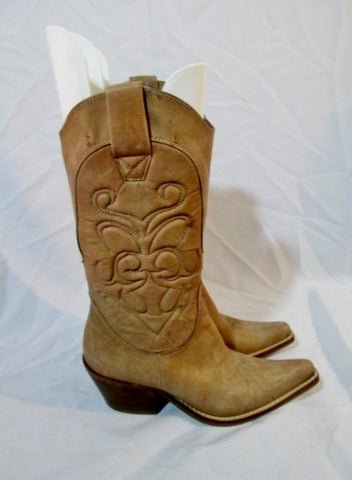 PENNY LOVES KENNY HIGH NOON Western Cowboy Leather BOOT 7.5 BEIGE TAN Rocker