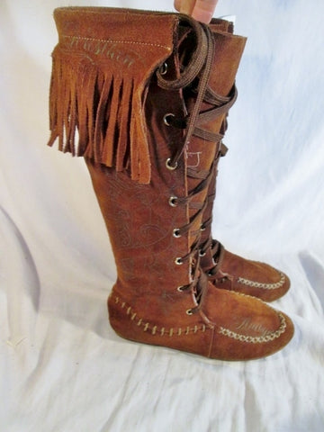 EUC Womens CHRISTIAN AUDIGIER Suede Fringe Boots Moccasin Hippie BROWN 7 Sword