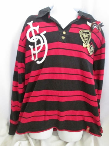 Mens STASH HOUSE Embroidered LOGO PATCH SKULL STRIPED Shirt BLACK RED XL