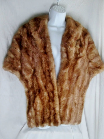 Vtg Authentic MINK FUR Jacket Shawl Wrap Coverup Stole Neck Boa BROWN Collar