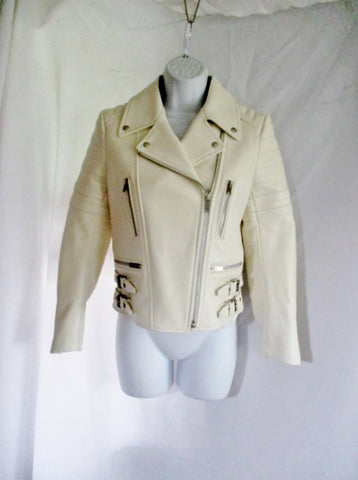 NWT New CELINE ITALY LEATHER Moto Riding jacket coat 36 4 WHITE Rocker Biker
