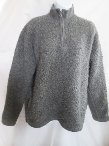 Womens J. CREW SHAGGY JACKET Coat Sweater GRAY L Hipster Boho Pullover