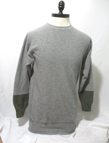 CELINE ITALY CASHMERE Sweater GRAY GREY KHAKI S Mens Jacket Crewneck