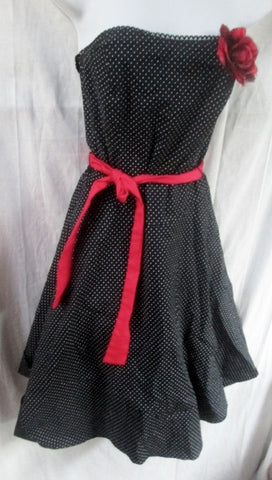 Womens RUBY ROX Formal Dress USA 7 BLACK POLKA DOT Pinup Rockabilly