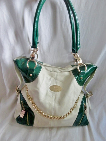 CHRISTINE PRICE Boutique leather tote satchel shoulder bag carryall L WHITE GREEN GOLD