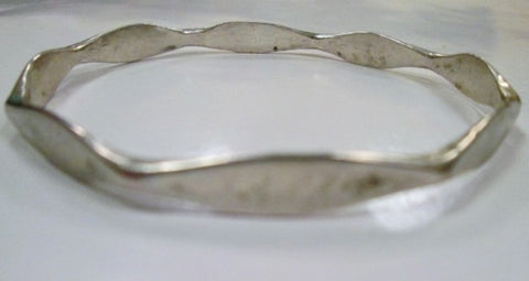 Mexican STERLING SILVER DIAMOND Symbol Handmade Bracelet Cuff Bangle Jewelry 15g