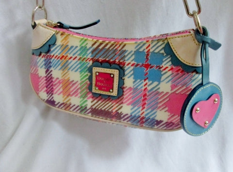 DOONEY & BOURKE Plaid Satchel Hobo Shoulder Bag Leather Heart Boho MULTI Scallop