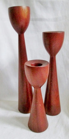 Set 3 ROSARIO WOODTURNING Teak Wood Candelabra Candle Holder Candlestick BROWN Puerto Rico