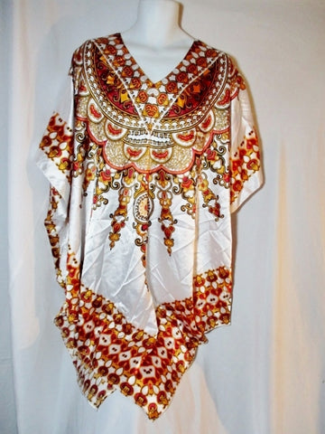 ASHRO TUNIC KAFTAN DASHIKI Ethnic African Clothing OS WHITE Orange Red