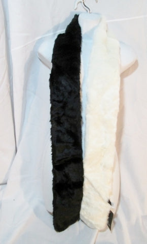 NEW NWT FREE PRESS ACCESSORIES FAUX FUR SCARF Boa NORDSTROM BLACK WHITE Vegan