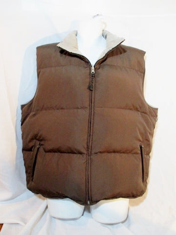 ATHLETA DOWN Puffer Vest Sleeveless Coat Jacket BROWN XL GRAY Reversible Mens Winter Outdoor