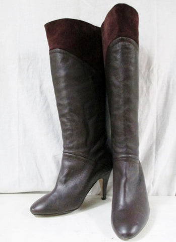 Womens SEYCHELLES Leather Suede Knee High Heel Diva Boots Shoes BROWN 8.5