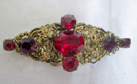 Vintage GOLD CZECHOSLOVAKIA Brooch Pin RED STONE Jewel Encrusted